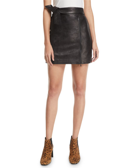 J Brand Christina Leather Zip Mini Skirt