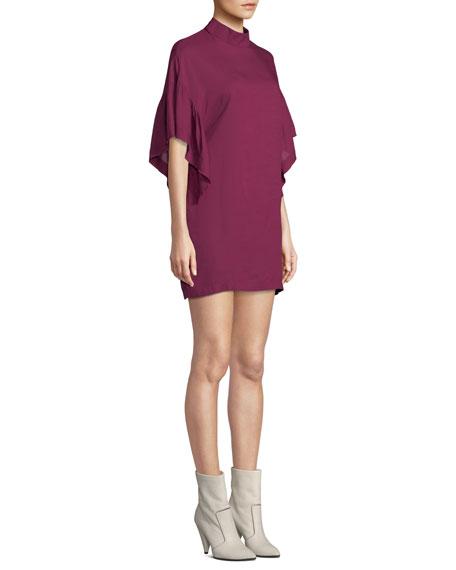 f5cd48e677 Image 3 of 3  Theifya Cape-Sleeve Mock-Neck Shift Dress