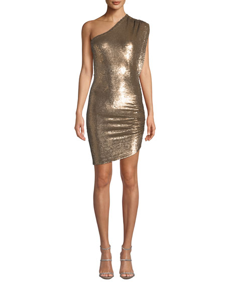 Iro Exciter Sequin One-Shoulder Mini Dress