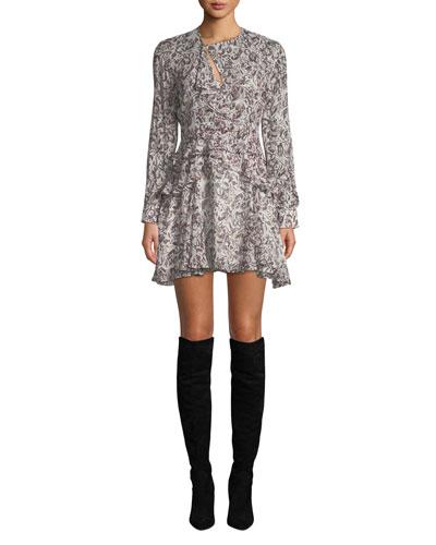 Honess Printed Long-Sleeve Ruffle Mini Dress
