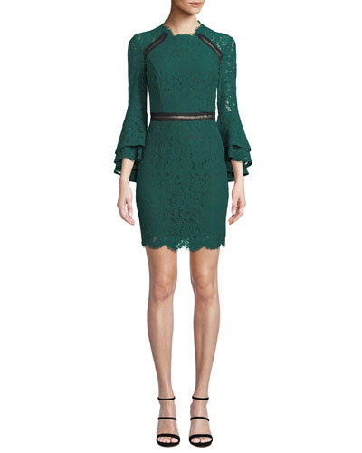 High-Neck Ruffle-Sleeve Lace  Body-Con Dress