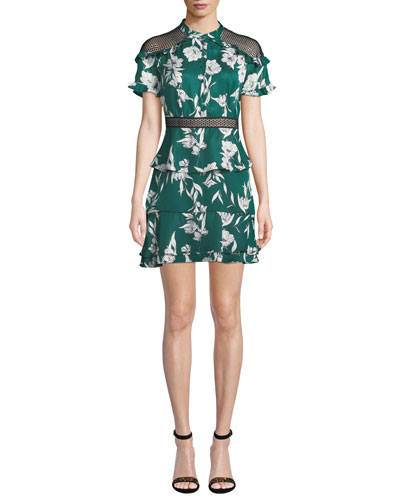Sorrento Floral Ruffle Short Dress with Mesh Inserts