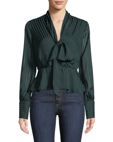 Bardot Tie-Neck Shadow Striped Blouse