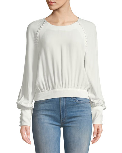 Tie-Back Button Long-Sleeve Blouse