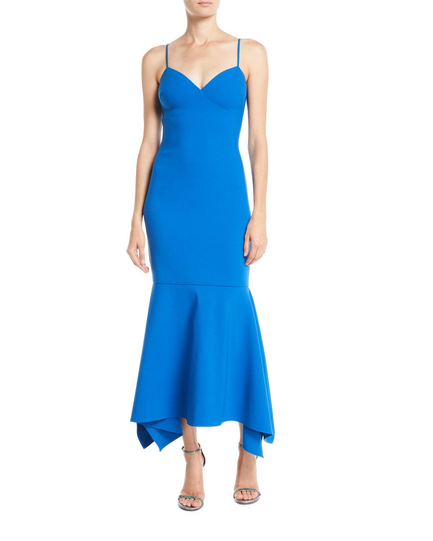 Likely Christiana Slip Gown Dress w/ Flounce Hem   Neiman Marcus