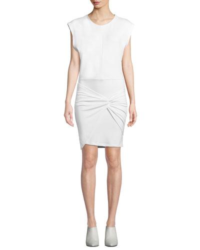 Pearls Sleeveless Twist-Front Short Dress