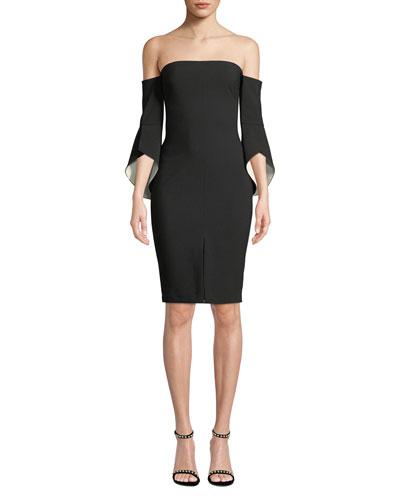 Ramona Off-Shoulder Trumpet-Sleeve Cocktail Dress