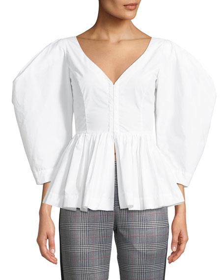ISA ARFEN Vera V-Neck Full-Sleeve Cotton Peplum Top in White