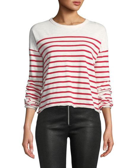 rag & bone/JEAN Halsey Crewneck Long-Sleeve Striped Cotton