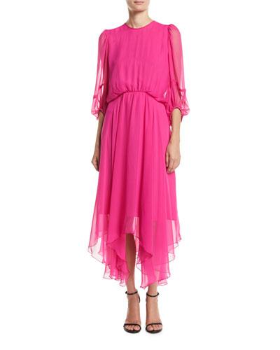 Dylan Midi Dress w/ Handkerchief Skirt