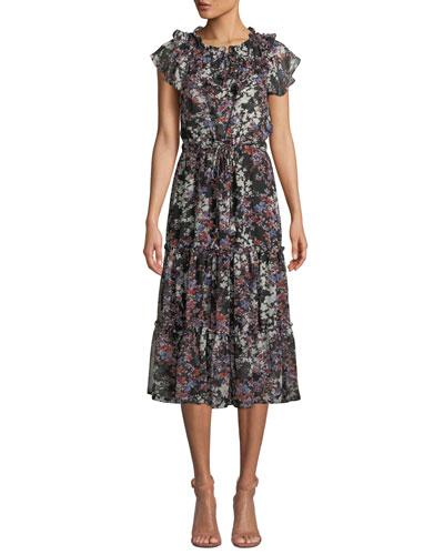 Lydia Floral-Print Ruffle Tiered Midi Dress