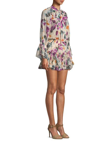 Jolene Floral-Print Ruffle Tie-Neck Mini Dress