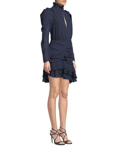 Evelyn Long-Sleeve Ruched Mini Dress