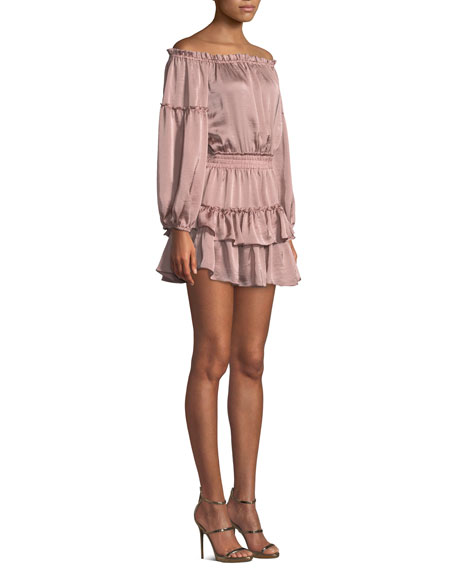 Romi Off-the-Shoulder Tiered Ruffle Mini Dress
