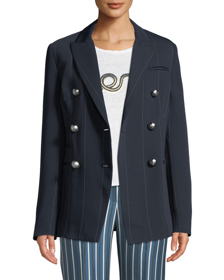 CAMILLA AND MARC Apollo Double-Breasted Pinstripe Blazer Jacket
