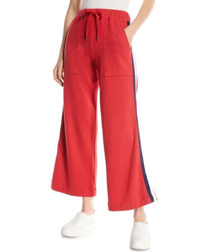 Flare-Leg Drawstring Sweatpants with Racer Stripes