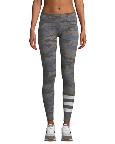 Camo-Print Striped Yoga Pants