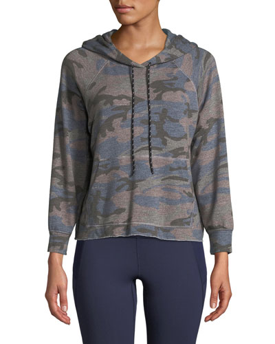 Camo-Print Cropped Pullover Hoodie