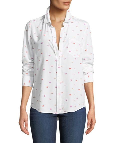 Rails Kate Lip-Print Silk Button-Front Shirt with Pocket
