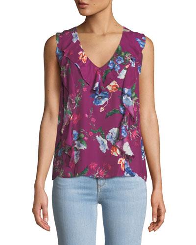 Roxy Floral-Print Sleeveless Ruffle Top