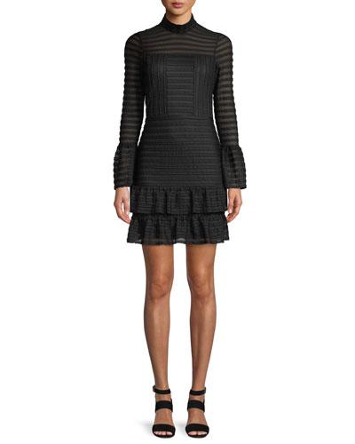 Topanga Bell-Sleeve Flounce Mini Dress