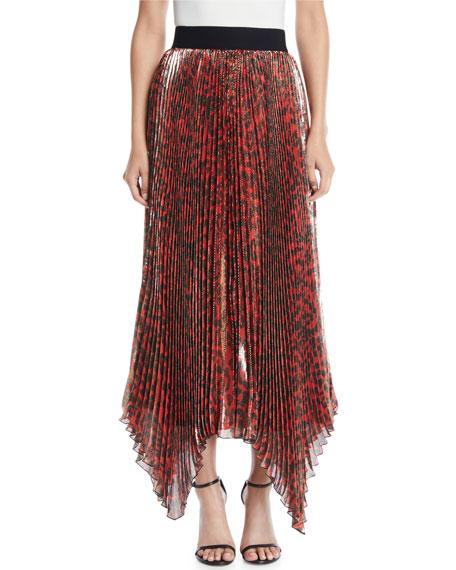 Alice + Olivia Katz Metallic Leopard Print Pleated Maxi Skirt in Red