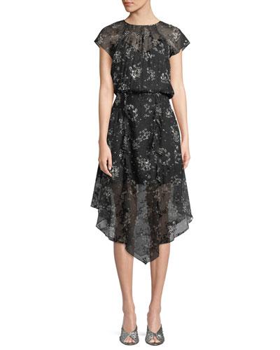 Tegan Floral Textured Ruffle Midi Dress