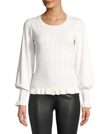 Henri Ribbed Bishop-Sleeve Sweater, Ivory