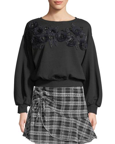 Lucinda Crewneck Sweatshirt with Floral Applique