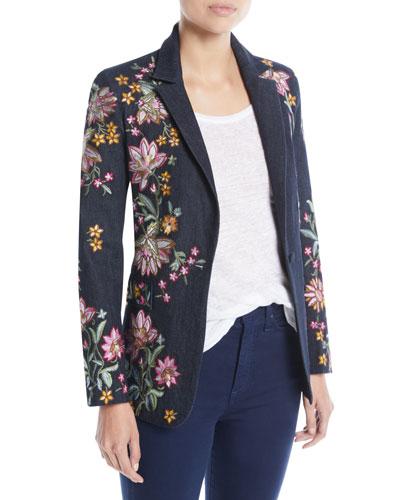 Macey Embroidered Notch-Collar Blazer