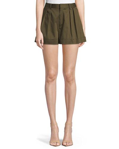 Conry High-Waist Pleated Cuff Shorts