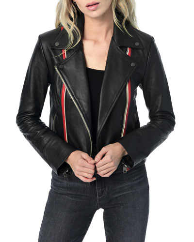 Revi Zip-Front Leather Jacket w/ Stripes