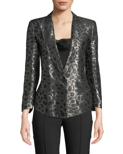 Film Fest Metallic Strong-Shoulder Animal-Print Blazer