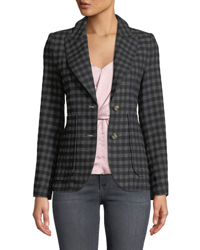 Check Two-Button Blazer with Patch Pockets