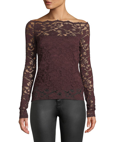 Black Site Lace Off-Shoulder Top