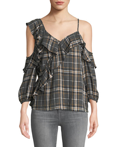 Cross Country Plaid Ruffle Cold-Shoulder Top