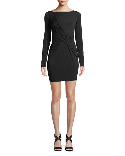 Clandestine Draped Long-Sleeve Dress