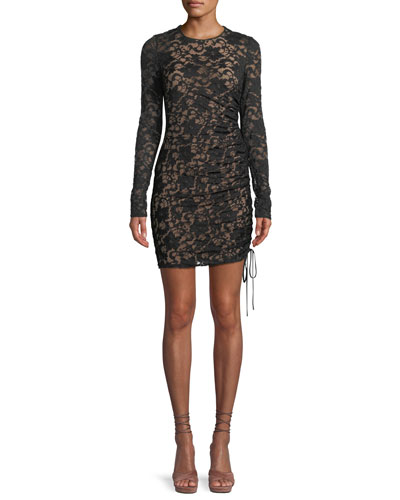 Disinformation Ruched Lace Mini Dress