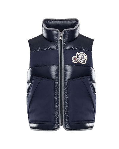 Gomont Mixed Materials Vest w/ Double Logo Patch, Size 8-14