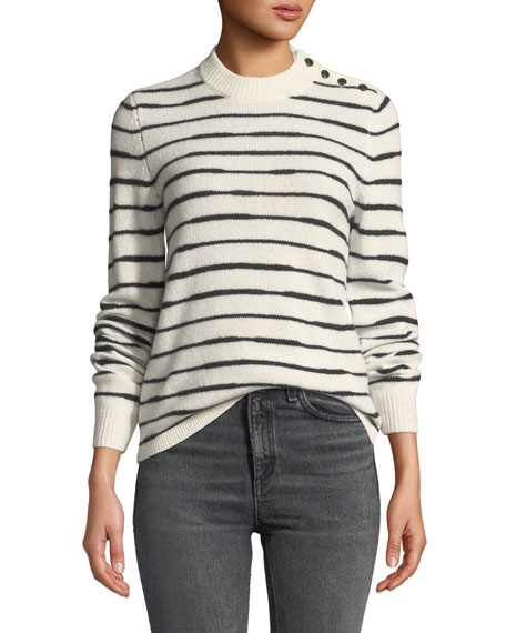 Rag & Bone Sam Striped Button-Shoulder Wool Sweater