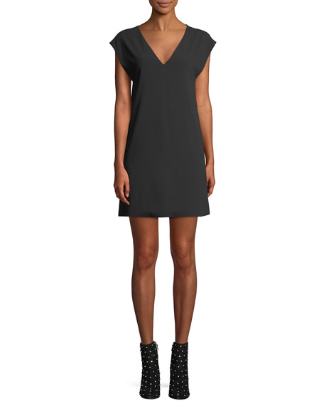 Carita Short-Sleeve Tie-Back Shift Dress