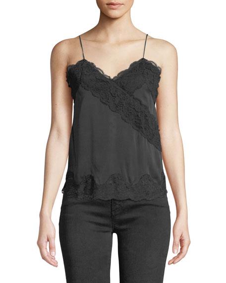 Dorine Mock-Wrap Lace-Trim Silk Camisole Top