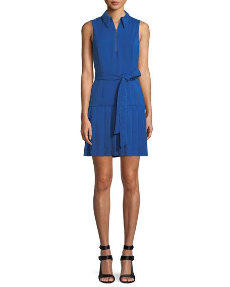 Yoko Zip-Front Pleated Dress