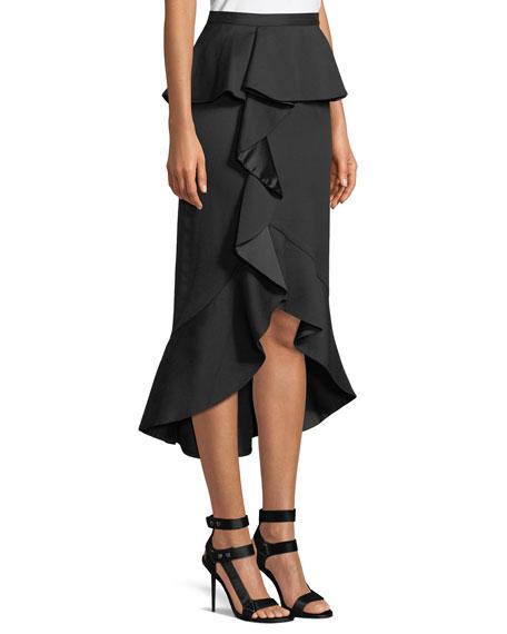 Alessandra Ruffled Peplum Pencil Skirt