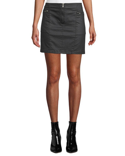 Emery Zip-Fly Denim Mini Skirt