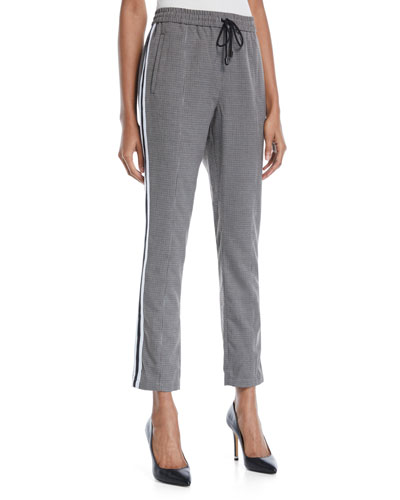 Nora Straight-Leg Check Pants w/ Racer Stripes