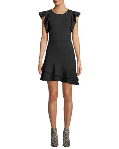 Saphira Linen-Blend Flounce Dress