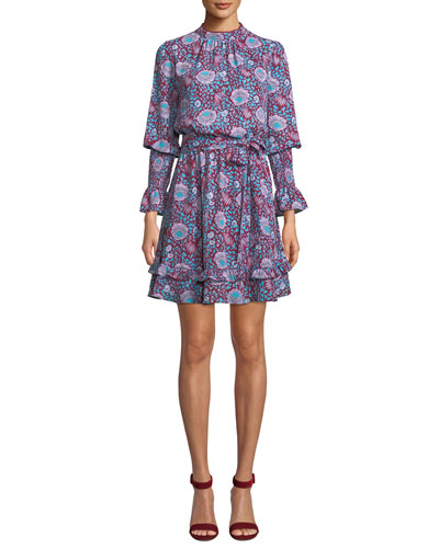 Belinda Floral High-Neck Ruffle Mini Dress