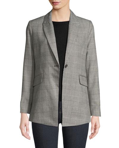 Celia Single-Button Check Jacket