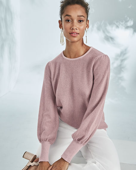 Cashmere Sequined Balloon-Sleeve Sweater